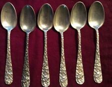6 Vintage Stieff Sterling Silver Rose Pattern 5 O'Clock Spoons