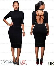 Ladies Womens Midi Dress Pencil Black Celeb Party Bodycon Evening New Size 8 10-