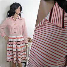 Vintage 60s 70s Red Stripe Crimplene Mini Dress Pleated Mod Preppy 10 12 38