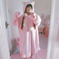 Japanese Women Fleece Cute Long Pajamas Night Dress Lolita Kawaii Home Sleepwear