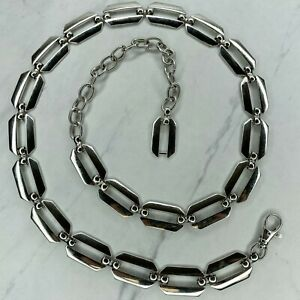 Silver Tone Open Rectangle Belly Body Chain Link Belt Size Medium M Large L