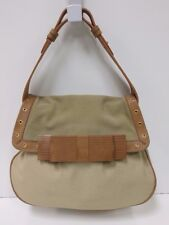 SCHUMACHER Taupe and Brown Canvas Suede Leather Bow Handbag , EUC