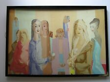LARGE 1960'S ABSTRACT EXPRESSIONISM PAINTING FIGURAL WOMEN  MODERNISM GATHERING