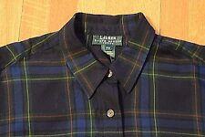 Ralph Lauren Plaid Button-Up Shirt Blouse Women's Petite Medium Navy Blue Green