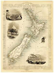 Old Vintage Map of New Zealand richly illustrated Tallis 1851