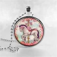 CAROUSEL HORSE Necklace, Horse Pendant, Horse Jewelry, Horse Charm, Glass Photo