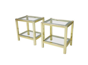 Pair of Bi-Color Side or End Tables in Brass, Glass, and Chrome, 70s 70er Tisch