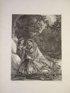RARE Gravure XIX SCENE GALANTE ORIENTALISTE GRECE GREECE OTTOMAN TURKEY 1830
