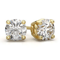 Brilliant Cut Round White Diamond Stud Earrings 14k Yellow Gold Finish