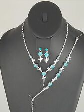 Silver and Aqua 3 Piece FASHION Necklace Bracelet and Earring Set