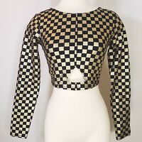 Nicki Minaj Black Gold Chequered Crop Top Key Hole Women's Sz SM