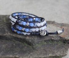 Blue Tiger Eye, Blue Goldstone  Multi Gemstone Beaded 3X Leather Wrap Bracelet