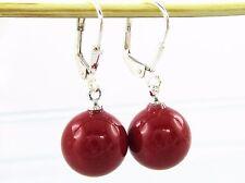 Damen Brisuren Rote Perlen Ohrringe 925 Silber Brisur 12mm Muschelkernperlen Rot