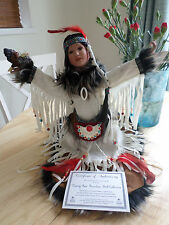 Native Indian Kneeling Collectors Doll holding an Eagle Chick - 18 inch