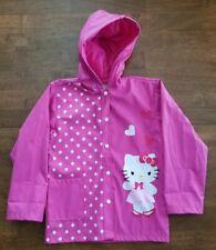 Hello Kitty Girls Rain Slicker Rain Coat Sz 4 Pink White Hood Lined Waterproof