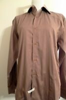 Mens ENVY Couture Button Long Sleeved Solid Slim Fit Beige Saten  Dress Shirt M