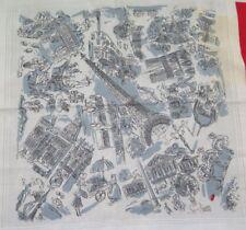"Vintage Paris Scenic Novelty Conversational Printed Cotton Handkerchief~17""Sq"
