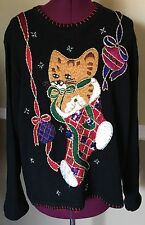 B.P. Design Black Ugly Christmas Sweater Ribbons Kitty Cat In Stocking Size XL