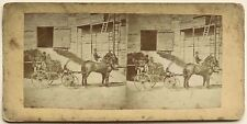 Carriole Ancienne Chevaux Photographie Stereo Vintage Albumine c1860