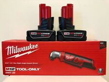 Milwaukee M12 12V Li-Ion 1/4 in. Right Angle Impact Driver  2467-20 + (2) 4.0AH