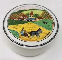 Villeroy & Boch NAIF Amish Farmer Laplau Covered Trinket Dish Lidded Candy Dish