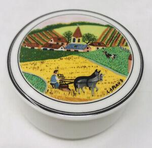 Villeroy & Boch NAIF Amish Farmer Laplau Covered Trinket Dish Lidded Candy Dish