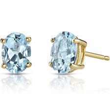 14K 14ct Yellow Gold 1.25 Carats Aquamarine Stud Earrings Oval Shape 7 x 5 mm