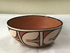 "Reyes Lovato Kewa Native American Santo Domingo Pueblo Pottery Bowl 8"", Signed"