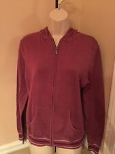 NEW w/tags -Women's -Light Jacket -Sz S -by Sonoma -Zips/Hood -Cranberry-Cotton