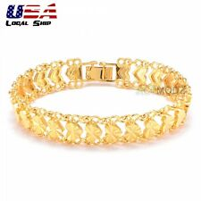 New 24K Gold Filled Love Heart Bracelet Women Charming Chain Cuff Bangles
