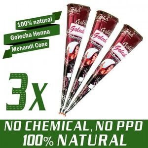 3 Stück - 100% Natural Golecha Henna Tattoo Paste Kegel Cones, Rotbraun (75g)