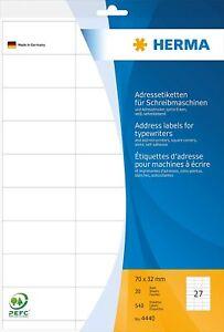 HERMA 4440 Adressaufkleber, Aufkleber DIN A4, 70x32 mm, 20 Blatt, selbstklebend