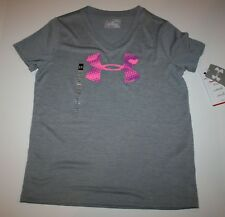 New Under Armour Girls Youth Medium M Top Gray Short Sleeve Top Logo in Pink