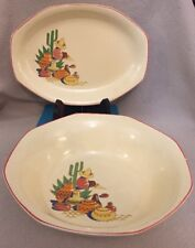 "Vintage Homer Laughlin 2 Pieces Maxicana Large 9"" Serving Bowl & 10"" Platter"