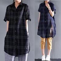 ZANZEA 10-24 Women Summer Plaid Check Shirt Tee Top Sheer Plus Size Tunic Blouse