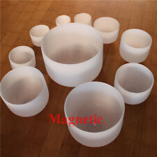 HUAMEI Chakra Tuned Set of 7 Frosted Quartz Crystal Singing Bowl All 10 inch