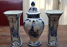 "Delfts Blue White Jar Urn 12.6"" and 2 Vases 9.8"" Dutch Vintage Churches Holland"