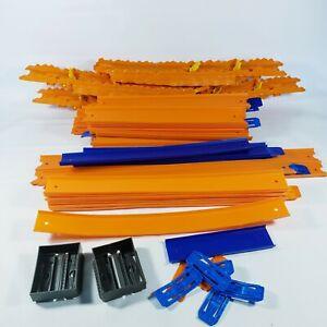 Lot 65 pcs 50+ Ft Hot Wheels Toy Race Track Orange Connectors & Misc Pieces