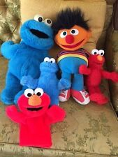 Sesame Street 15 inch Ernie and Cookie Monster hand puppets Plus