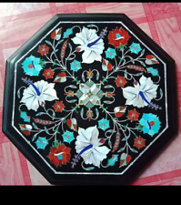 "18"" black Marble Table Top PietraDura marquetry floral Inlay Work Home Decor"