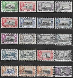 FALKLAND ISLANDS 1938-50 SET F/VFU INCL. 6d, 1s & 10s SHADES CV £225++