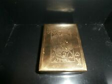 RARE Antique Brass Single Deck Playing Card Case + Vintage Jumbo Faced Card Deck