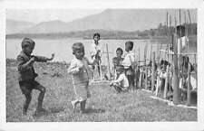 Malaysia Children by Lake Antique Postcard J58080