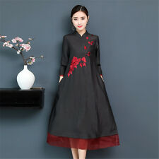 Black Flowers Embroidery Chiffon 3/4 Sleeves Women's Loose Long Dress M-3XL