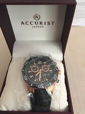 BRAND NEW ORIGINAL ACCURIST MENS BLACK DIAL CHRONOGRAPH DISPLAY WATCH