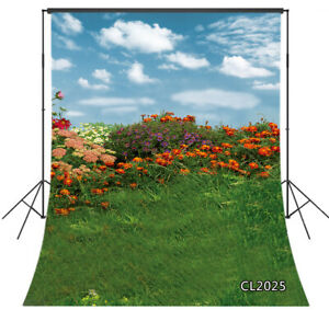 Spring Wildflowers Green Grass Clouds Sky  5x7ft Vinyl Backdrop Photo Background