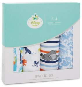 """Aden & Anais Classic Disney 47"""" x 47"""" Baby Swaddles The Jungle Book 4 Pack"""