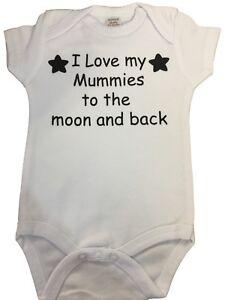 PERSONALISED  - BODYSUIT - BABY GROW. I love my mummy, I love my big sister ...