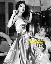 AVA GARDNER 8X10 Lab Photo B&W 1954 CANDID GOWN FITTING PORTRAIT Back Stage