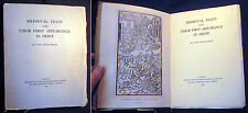 1943 GOLDSCHMIDT MEDIEVAL TEXTS THEIR FIRST APPEARANCE IN PRINT OXFORD UNIV